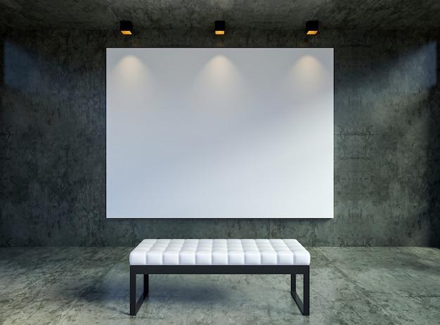 Макет пустой холст кадр-афишу в интерьере современной чердак галереи, 3d-рендеринга Premium Фотографии