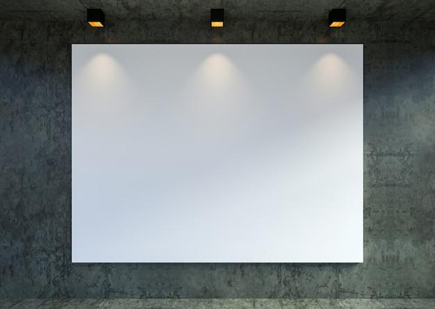 Макет пустой холст кадр-афишу в современном интерьере галереи чердак фон, 3d-рендеринга Premium Фотографии