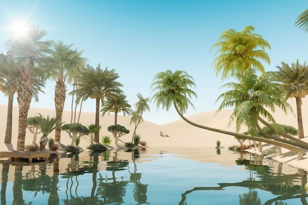 砂漠のオアシスとヤシの木、3dレンダリング Premium写真