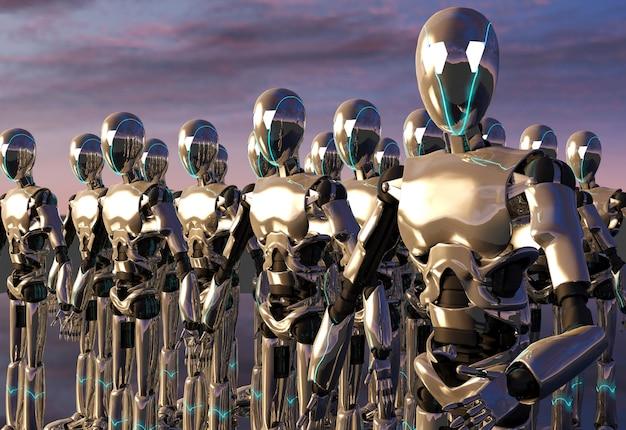 ロボットアンドロイド軍、3dレンダリング Premium写真