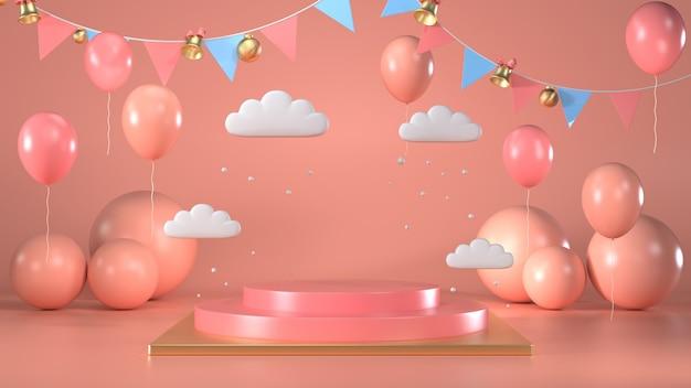 3d представляют яркой круглой сцены постамента подиума с пинком и воздушными шарами Premium Фотографии
