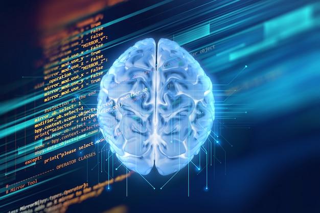 3d-рендеринг человеческого мозга на фоне технологии Premium Фотографии