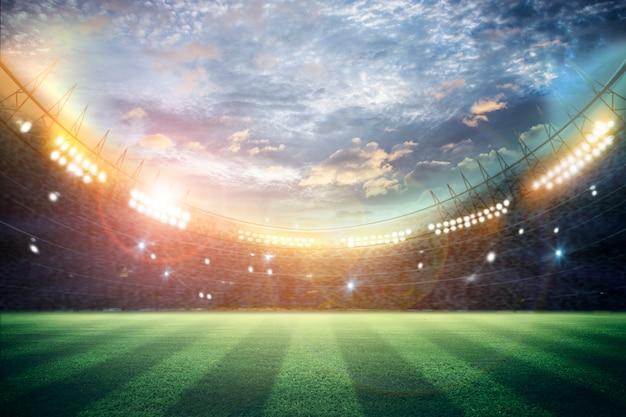 夜のライトとスタジアムの3dレンダリング Premium写真