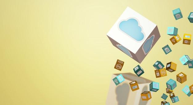 テクノロジーコンテンツのクラウドデータ3dレンダリング。 Premium写真