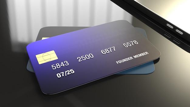 Перевод кредитной карты 3d для концепции дела. Premium Фотографии