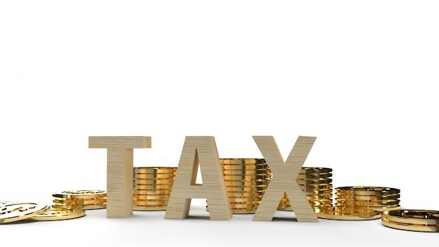 Изображение перевода налога на древесину и монетки 3d для содержания дела. Premium Фотографии