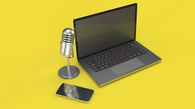 ポッドキャストコンテンツ用のビンテージマイクノートブックおよびスマートフォン3dレンダリング。 Premium写真