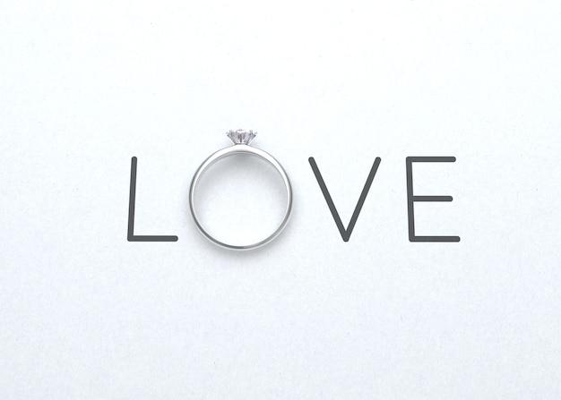 白い紙に結婚指輪と言葉は、バレンタインデーの背景の3dレンダリング Premium写真