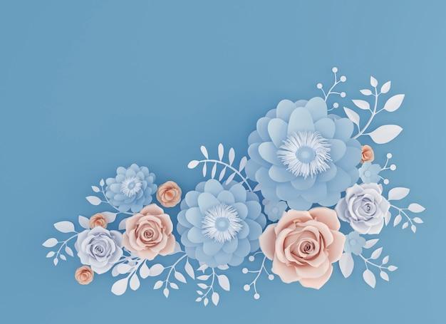 抽象的なペーパーアート青い背景、3dのイラストに花が咲いています。 Premium写真