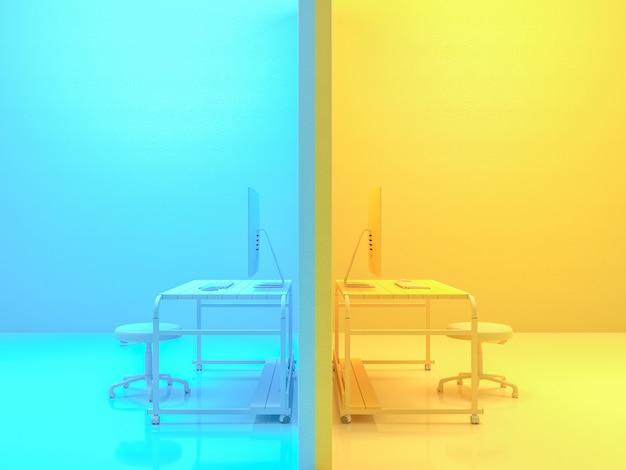 Концепция минимальной идеи, компьютер на рабочем столе деревянный стол желтый и синий цвета. 3d визуализация. Premium Фотографии