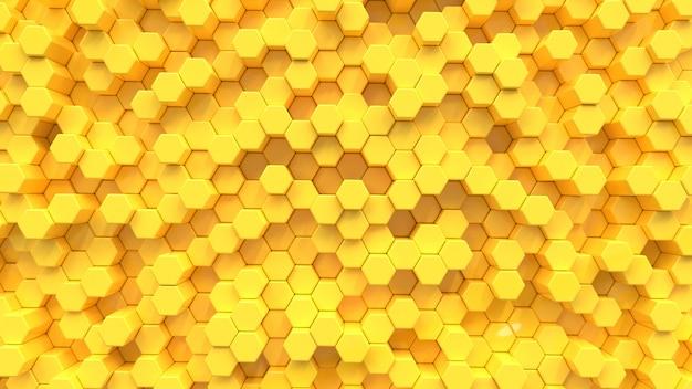 黄色の六角形のテクスチャ背景。 3dレンダリング。 Premium写真