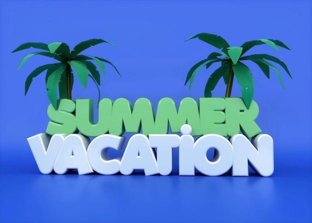 Летний отдых 3d текст с пальмами и фиолетовым Premium Фотографии