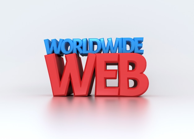Всемирная паутина 3d текст на белом Premium Фотографии