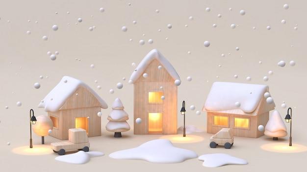 Деревянная игрушка город-деревня мультяшный стиль 3d рендеринг Premium Фотографии