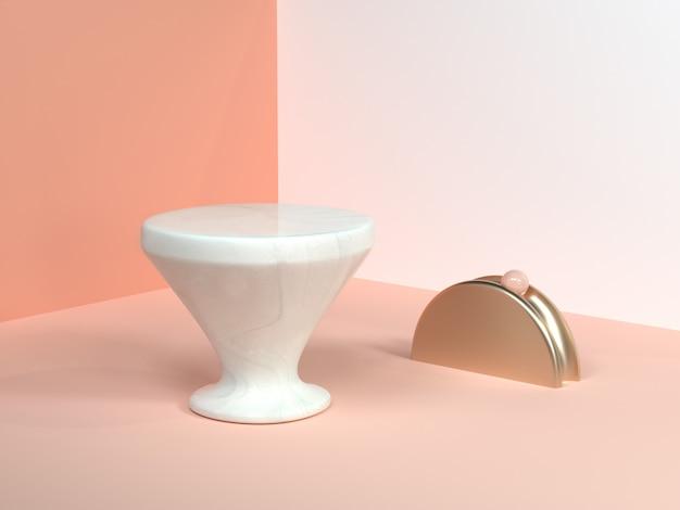 Крем минимальный сцена стена угол аннотация геометрическая форма белый мрамор конус форма золото полукруг 3d рендер Premium Фотографии