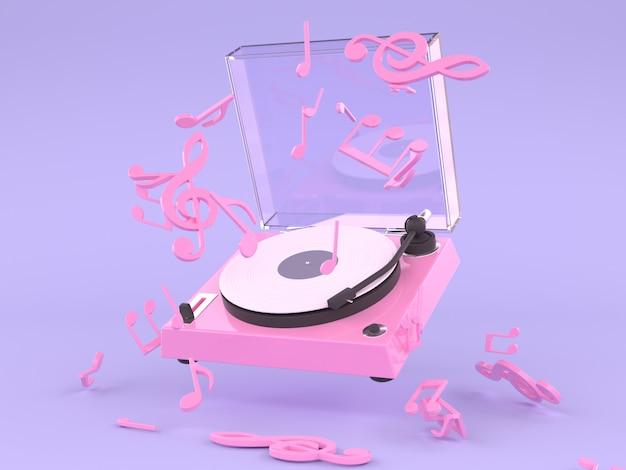 Розовый белый виниловый диск музыка концепция 3d рендеринг фиолетовый фон Premium Фотографии