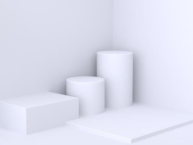 Квадратный цилиндр белая стена угол минимальный абстрактный фон 3d рендеринг Premium Фотографии