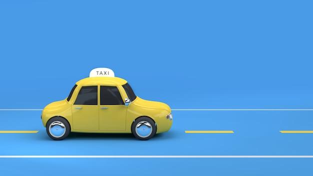 Желтое такси на дороге синий фон 3d рендеринга Premium Фотографии