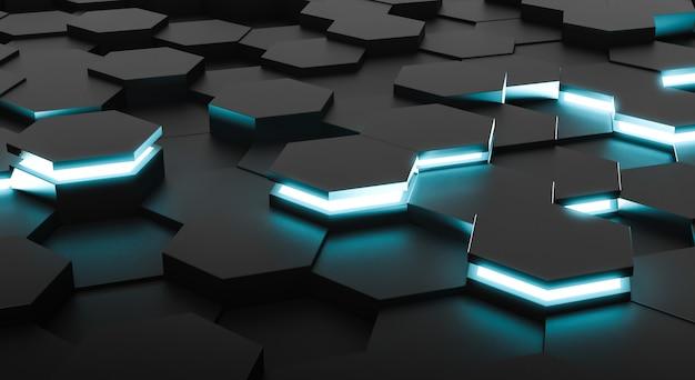 Абстрактная предпосылка шестиугольников футуристической поверхности. 3d-рендеринг Premium Фотографии
