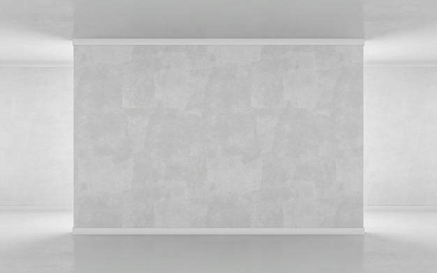 Пустая стена в макинтош галереи. 3d рендеринг Premium Фотографии