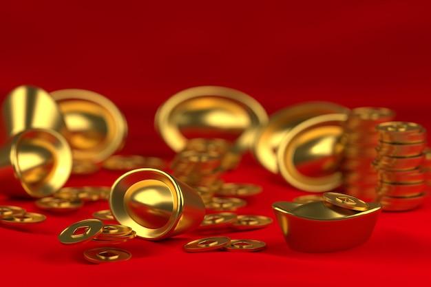 3d золото и монета Premium Фотографии