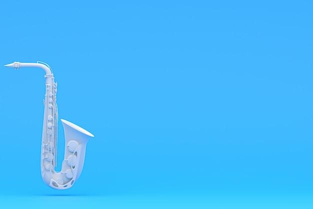 Саксофон на голубой предпосылке, музыкальные инструменты. принц, предпосылка, обои. 3d визуализация Premium Фотографии