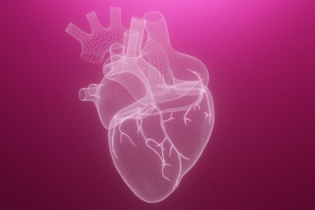 3d каркасные сердца делают изолированные Premium Фотографии