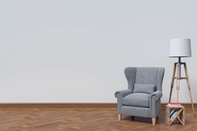 インテリアは白い壁の背景にソファーと本を持ち、3dレンダリング Premium写真