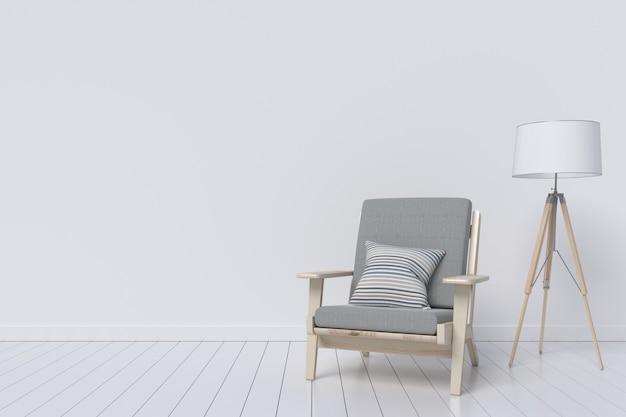 Современный интерьер с красивой мебелью и лампой. 3d иллюстрации Premium Фотографии