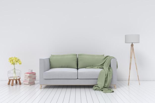 空の白い壁の背景にベルベットのソファーとランプとインテリア。 3dレンダリング Premium写真
