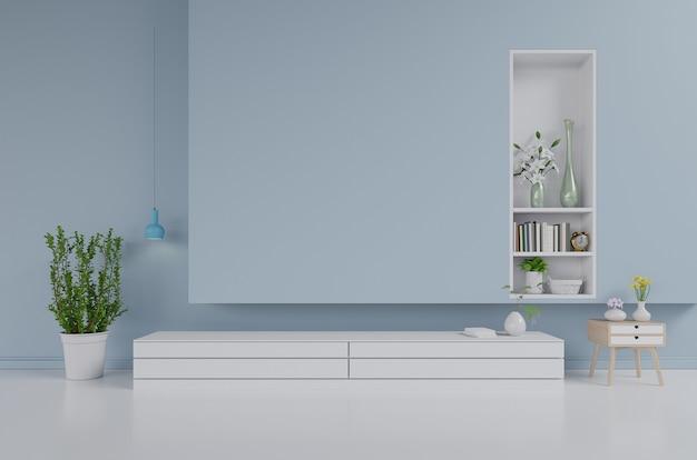 キャビネット、リビングルームのテレビの壁、青い壁、3dレンダリング Premium写真
