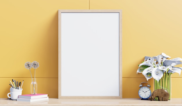 黄色の壁にリビングルームのキャビネットとインテリアポスターモックアップ。 3dレンダリング Premium写真