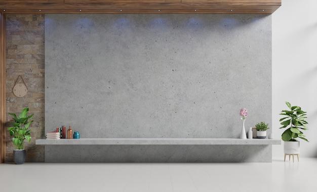 モダンなリビングルームの壁にセメントスクリーン壁付きモルタルラックテレビ。 3dレンダリング Premium写真