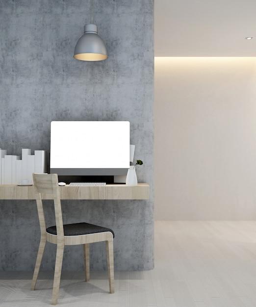 ホテルまたはアパートの職場-インテリアデザイン-3dレンダリング Premium写真