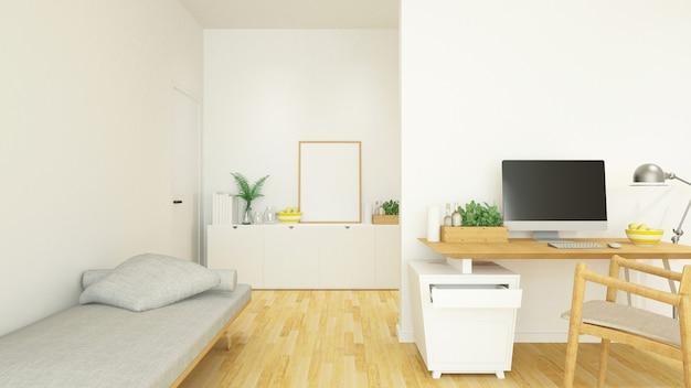 Рабочее место и жилая площадь в доме или кондоминиуме - 3d рендеринг Premium Фотографии