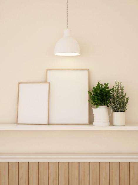 Декорирование рамы и стен для художественного произведения или галереи - 3d-рендеринг Premium Фотографии