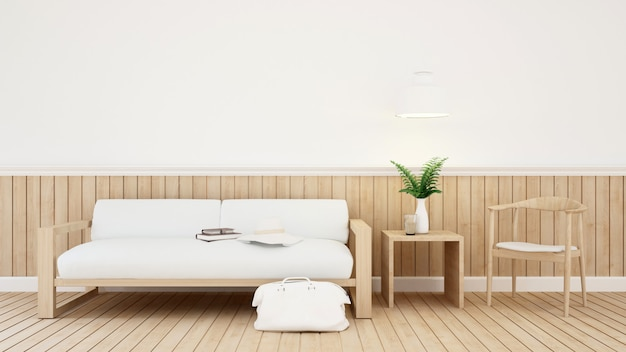 家やコーヒーショップのリビングルーム -  3dレンダリング Premium写真