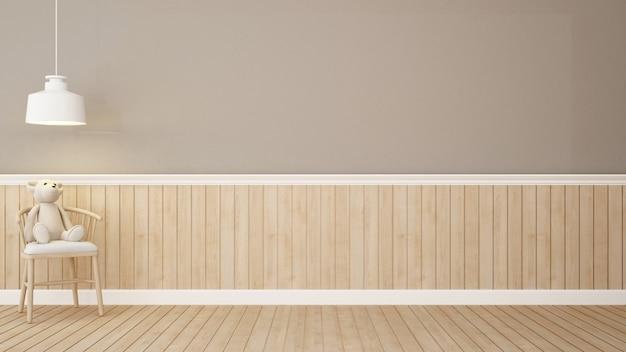 茶色の部屋の椅子にテディベア3dレンダリング Premium写真