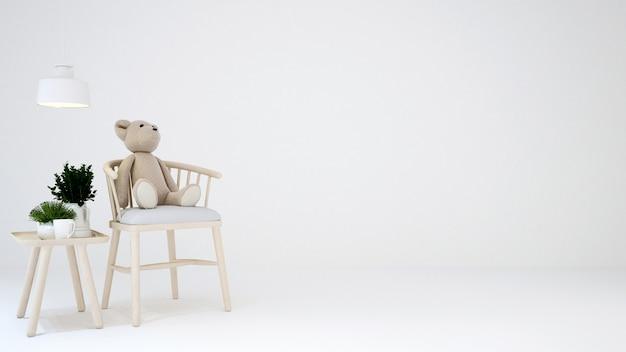 白い黒地に子供部屋やリビングエリア -  3dレンダリング Premium写真