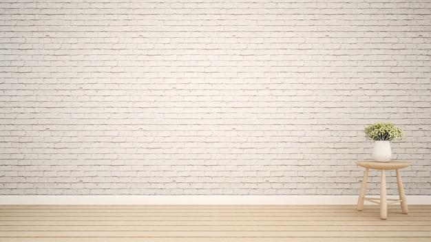 空の部屋でサイドテーブルの上に花 -  3dレンダリング Premium写真