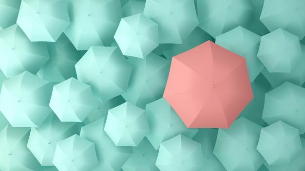 多くの薄緑色の傘の上にピンクの傘。 3dイラスト Premium写真