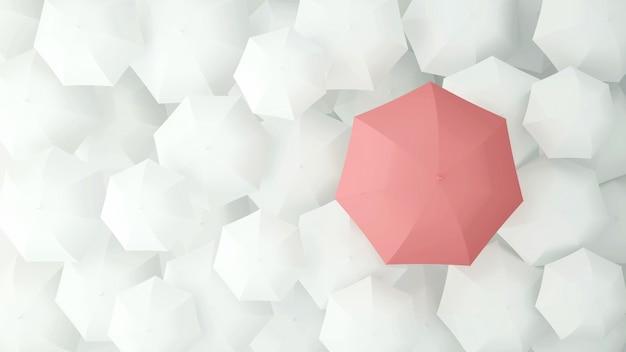 Розовый зонтик на много белых зонтиков. 3d иллюстрация Premium Фотографии