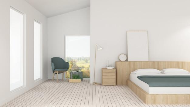 ホテルのインテリアの最小限の寝室スペースと装飾の背景 -  3dレンダリング Premium写真