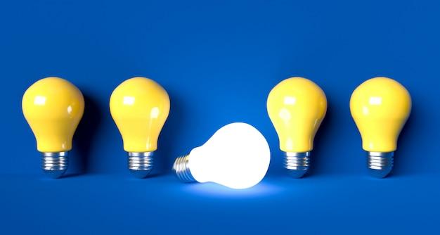 電球のアイデアコンセプト。 3dレンダリング図 Premium写真