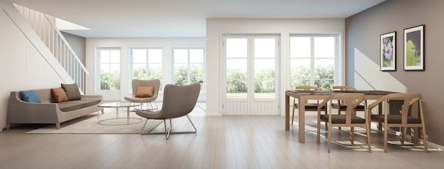 現代の家のリビングルームとダイニングルーム、ホームインテリア -  3dレンダリング Premium写真