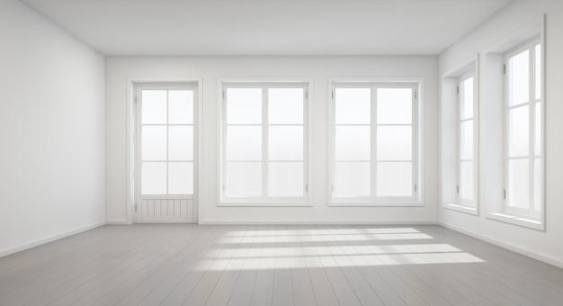 新しい家のドアと窓付きのヴィンテージホワイトルームの3dレンダリング。 Premium写真