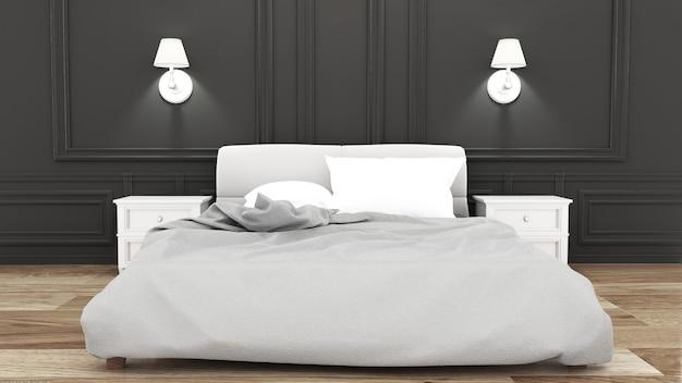 黒い壁に優雅なベッドルーム。 3dレンダリング Premium写真