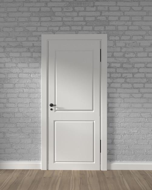 モダンなロフトの白いドアと木の床の白いレンガの壁。 3dレンダリング Premium写真