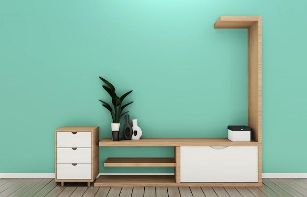 Телевизионная полка в мятном номере в современном тропическом стиле - интерьер пустой комнаты - минималистичный дизайн. 3d-рендеринг Premium Фотографии