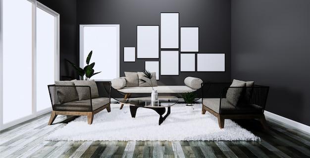 部屋の暗いソファーとアームチェアのあるモダンなインテリア3dレンダリング Premium写真